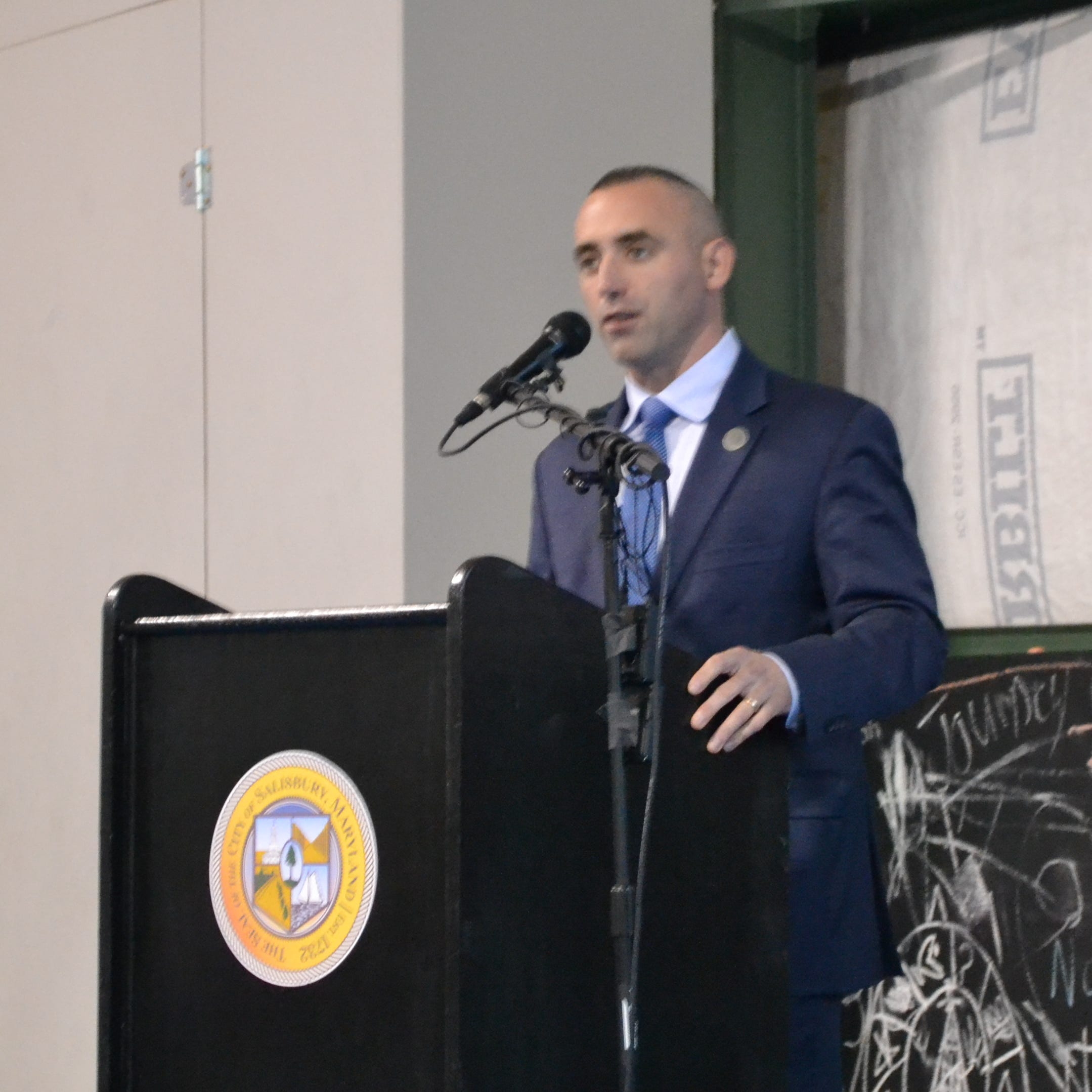 Salisbury Mayor Jake Day delivers his State of the City address at the Truitt Street Community Center on Wednesday, Nov. 14, 2018.