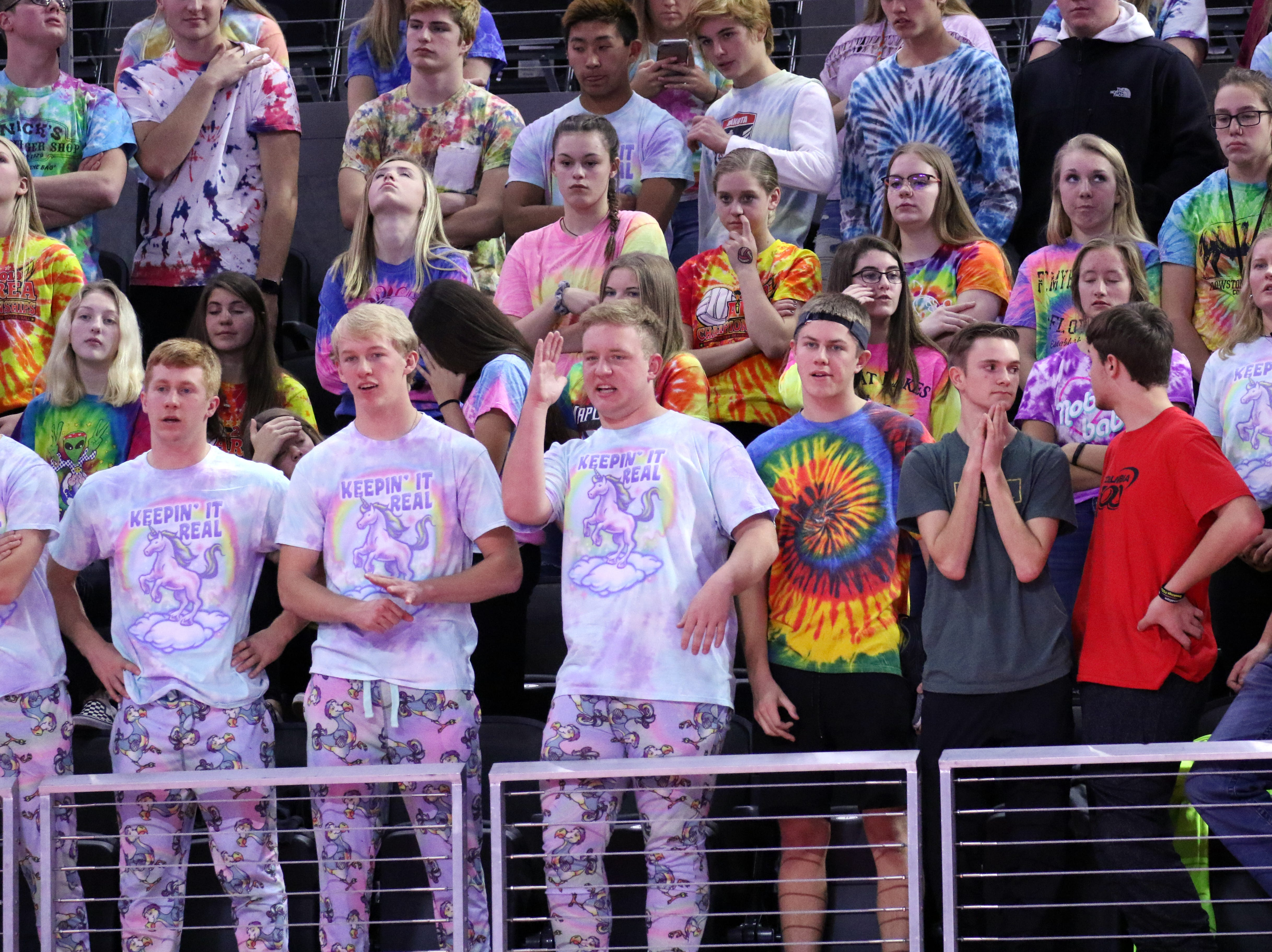 Brookings fans watch the match between Rapid City Stevens and Brookings at the State Tournament on Thursday in Sioux Falls.
