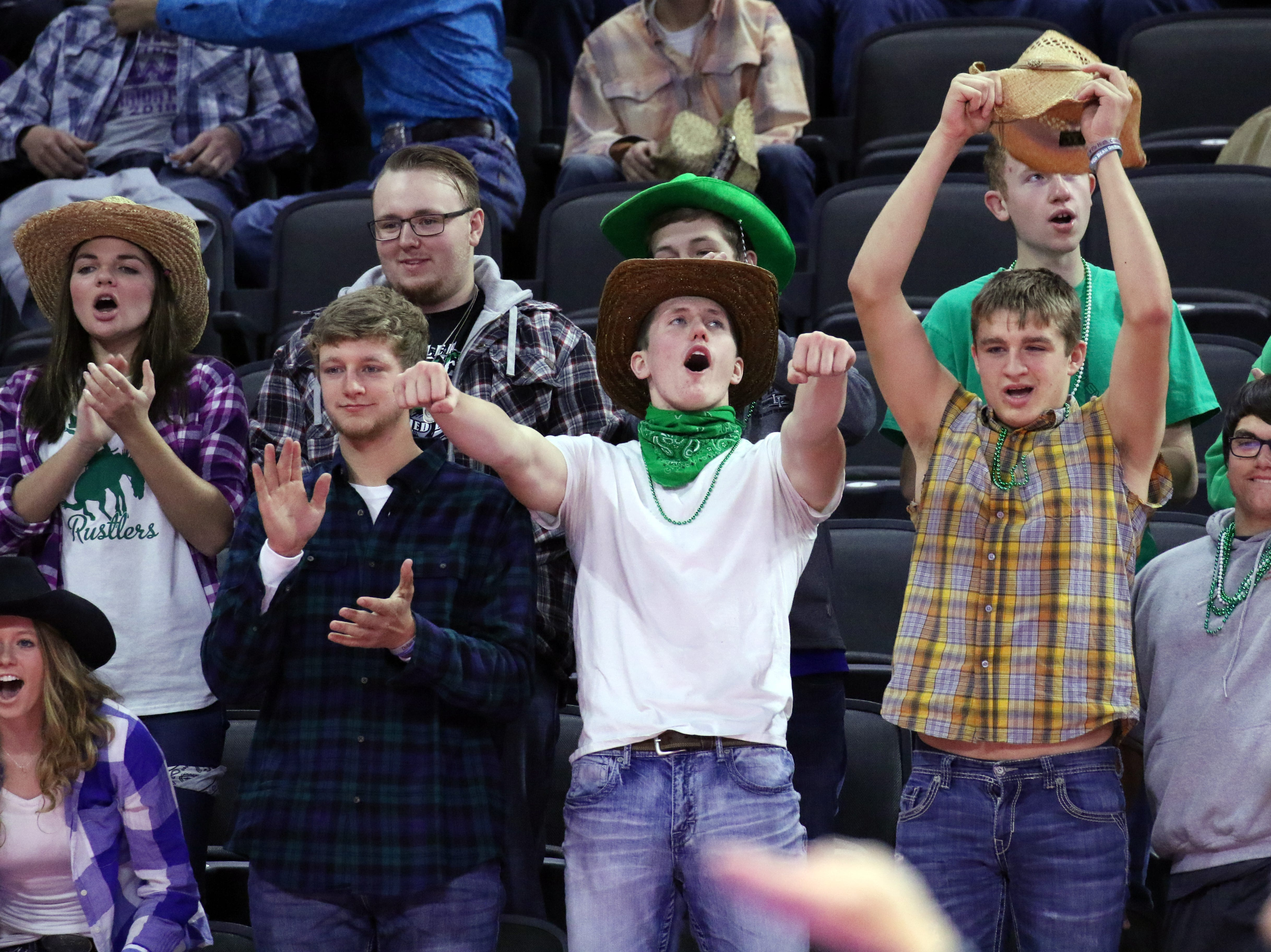 Miller fans cheer the final point of the match on Thursday as Miller defeated Rapid City Christian 3-0 to advance to semifinals in Sioux Falls.