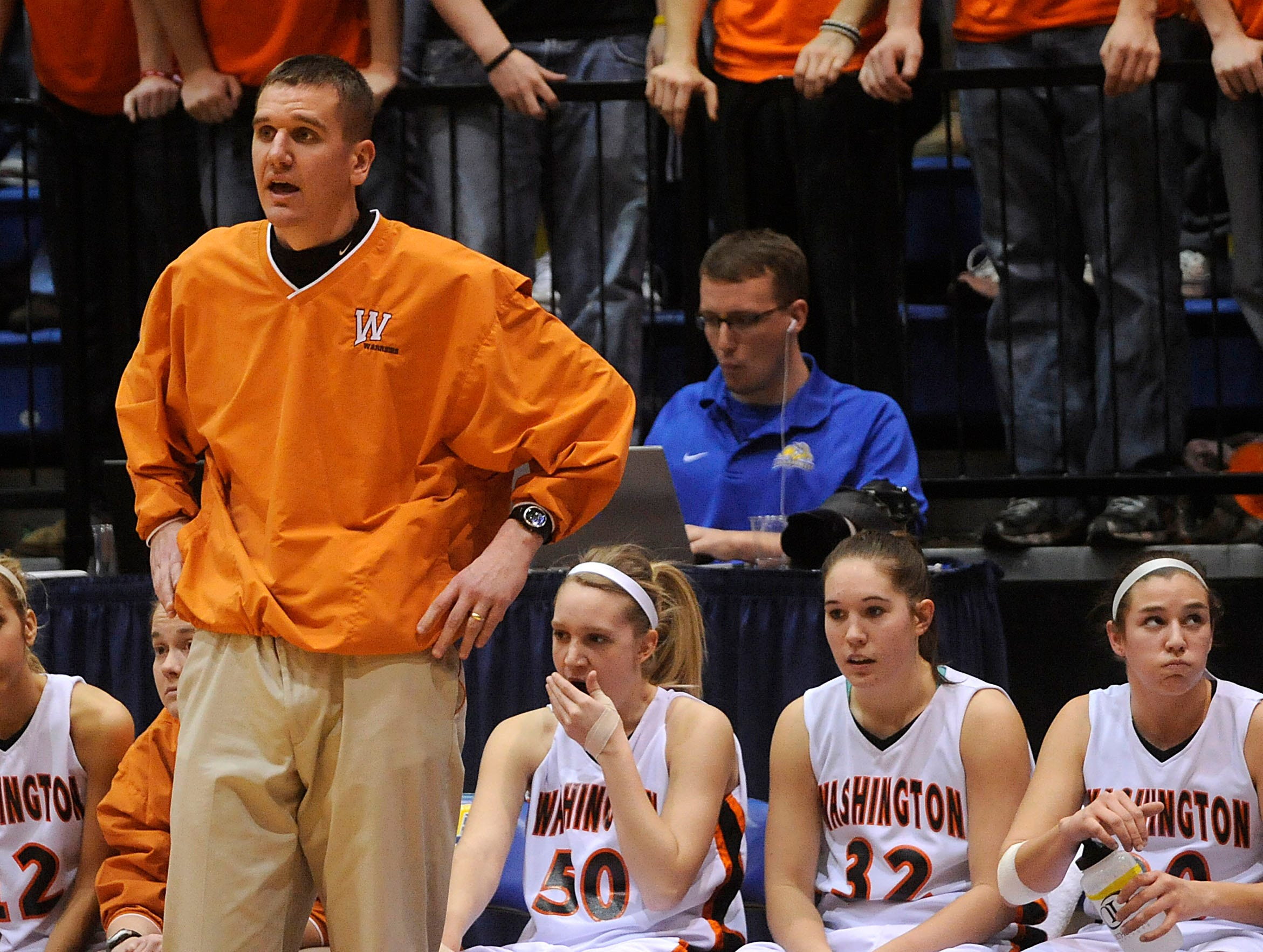 Washington head coach Nate Malchow watches over the Warriors as they take on Aberdeen in the second half of Thursday's South Dakota girls State AA  quarterfinal game at Frost Arena in Brookings. Aberdeen Central beat Washington 54-53.