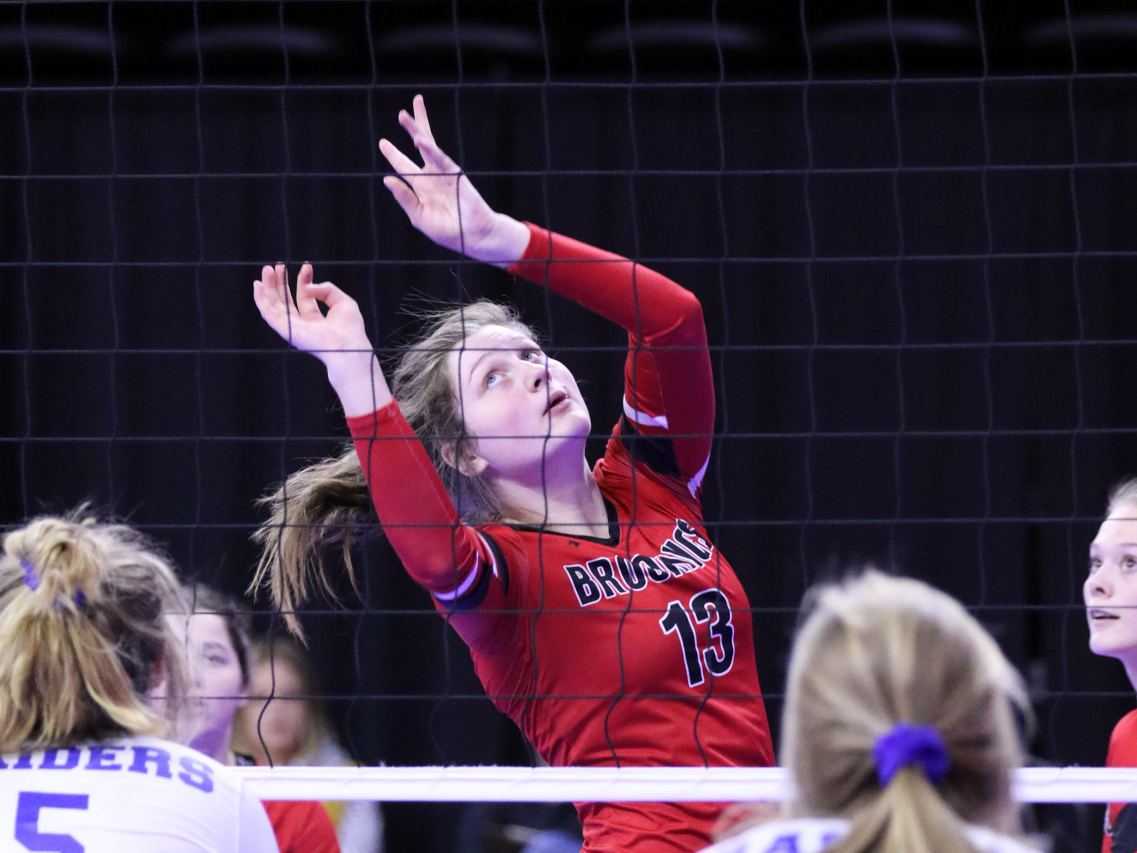 Michaela Jewett of Brookings sets the ball during Thursday afternoon's match against Rapid City Stevens in Sioux Falls.