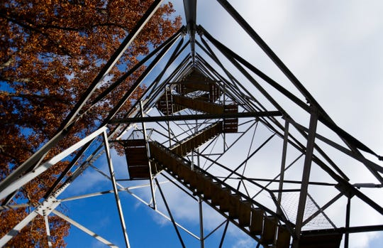The stairs to the top of a fire watch tower in the Hercules Glades Wilderness Area on Friday, Nov. 9, 2018.