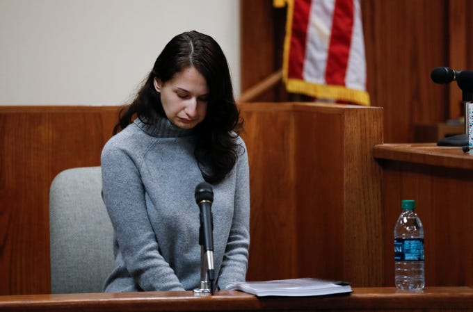 """Gypsy Blanchard takes the stand during the trial of her ex-boyfriend Nicholas Godejohn on Nov. 15, 2018. Godejohn is on trial for fatally stabbing Gypsy's mother, 48-year-old Clauddine """"Dee Dee"""" Blanchard, at her Greene County home in June of 2015."""