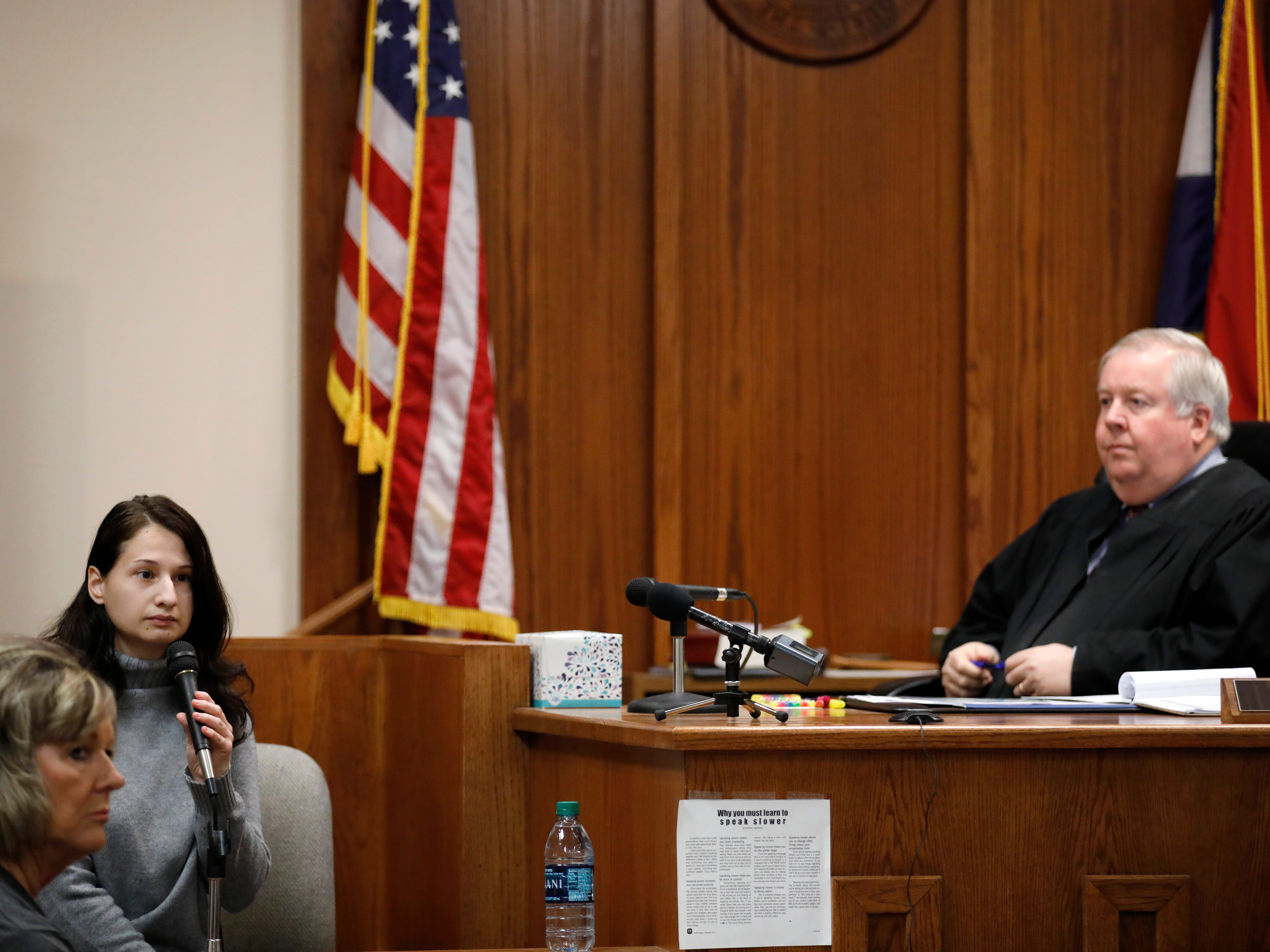 "Gypsy Blanchard takes the stand during the trial of her ex-boyfriend Nicholas Godejohn on Nov. 15, 2018. Godejohn is on trial for fatally stabbing Gypsy's mother, 48-year-old Clauddine ""Dee Dee"" Blanchard, at her Greene County home in June of 2015."