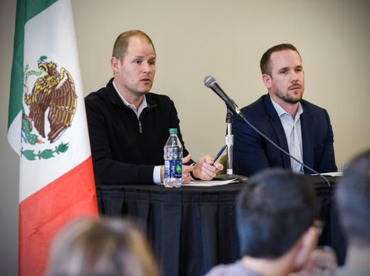 Panelists Bryan Burns, president and CEO of DeZURIK, and Joe Francis, president and CEO for Central McGowan, talk about their business during the Potter Global Engagement Forum Thursday, Nov. 15, at St. Cloud State University.