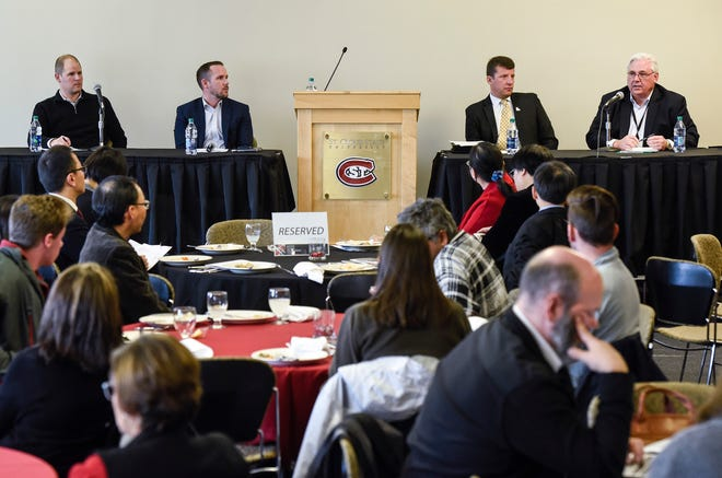 Potter Global Engagement Forum panelists Bryan Burns, president and CEO of DeZURIK, Joe Francis, president and CEO for Central McGowan, moderator Larry Hosch and Brad Goskowicz, CEO of Microbiologics, discuss the business economy Thursday, Nov. 15, at St. Cloud State University.