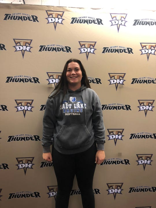 Addi Betts, shown here after she signed to play softball at Salt Lake Community College, currently owns Region 9 softball's triple crown, as she leads in home runs, runs batted in and batting average.