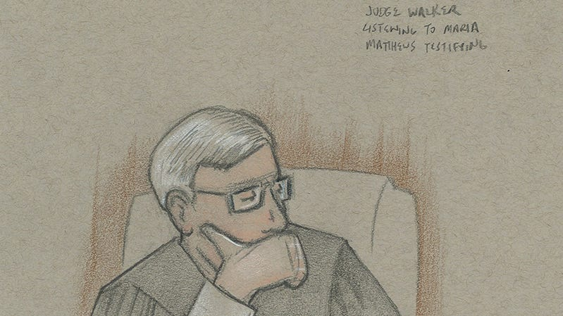 Judge Mark Walker considers a point during a Tallahassee federal court hearing on one of seven recount lawsuits.