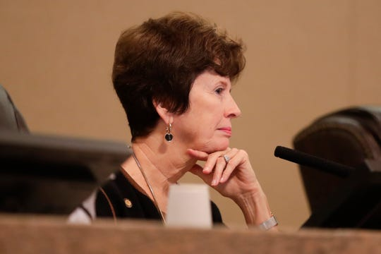 Commissioner Nancy Miller sits in on her last city commission meeting Wednesday, Nov. 14, 2018.