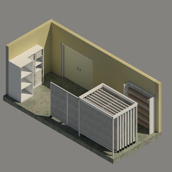 Illustration of vault with new art storage furnishings for Gadsden Art Center.
