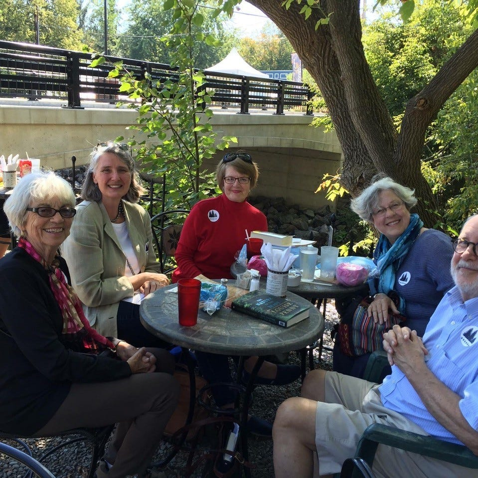 Fan club takes road trip for lunch with Louise Penny