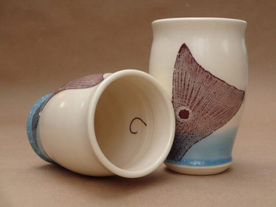 Redfish Tumbler,  pottery byGregg Mathews at the Sea Oats Gallery.