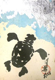 Baby Turtle - Sumi-e' by Ann Kozeliski is part of the Island Holiday Festival at Sea Oats Gallery on St. George Island.