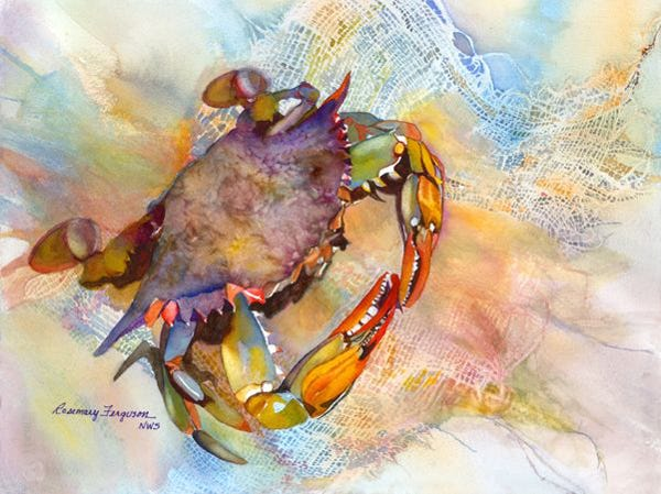 Bluecrab, watercolor by Rosemary Ferguson, is part of Island Holiday show at SeaOats Gallery.