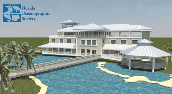 An artist's rendering of the proposed Ocean EcoCenter at the Florida Oceanographic Society's campus on Hutchinson Island in Stuart.