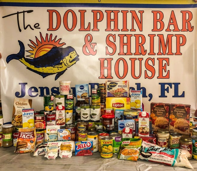 The Dolphin Bar & Shrimp House has already collected more than 115 pounds of food.