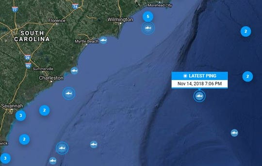 Katharine the shark's latest ping was 7 p.m. Wednesday, deep in the Atlantic Ocean, east of Charleston, South Carolina.