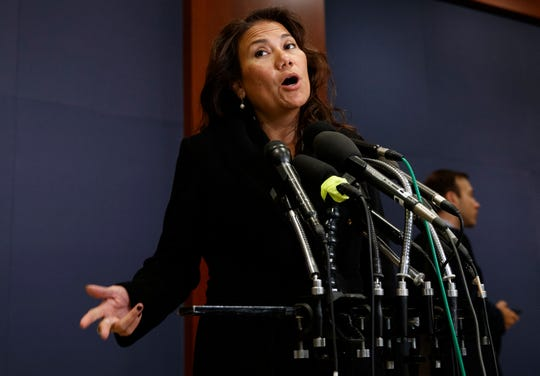 U.S. Rep.-elect Veronica Escobar, D-El Paso, pauses to speak to the news media during member-elect briefings Thursday, Nov. 15, 2018, on Capitol Hill in Washington, D.C.