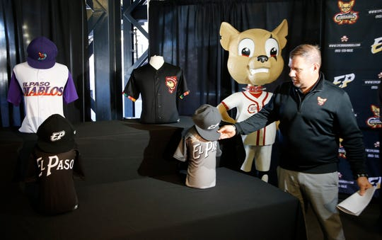 Brad Taylor, senior vice president of MountainStar Sports Group and general manager of the El Paso Chihuahuas, unveils a new set of alternate logos and jerseys for the team Thursday afternoon in anticipation of the 2019 All-Star season. The new jerseys, apparel and some of the new-logo caps are available for purchase at the Chihuahuas' Durango Team Shop and online.