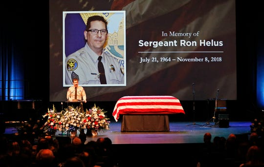 Ventura County Sheriff Bill Ayub addresses the crowd attending the memorial service for Ventura County Sheriff's Office Sgt. Ron Helus at Calvary Community Church in Westlake Village.
