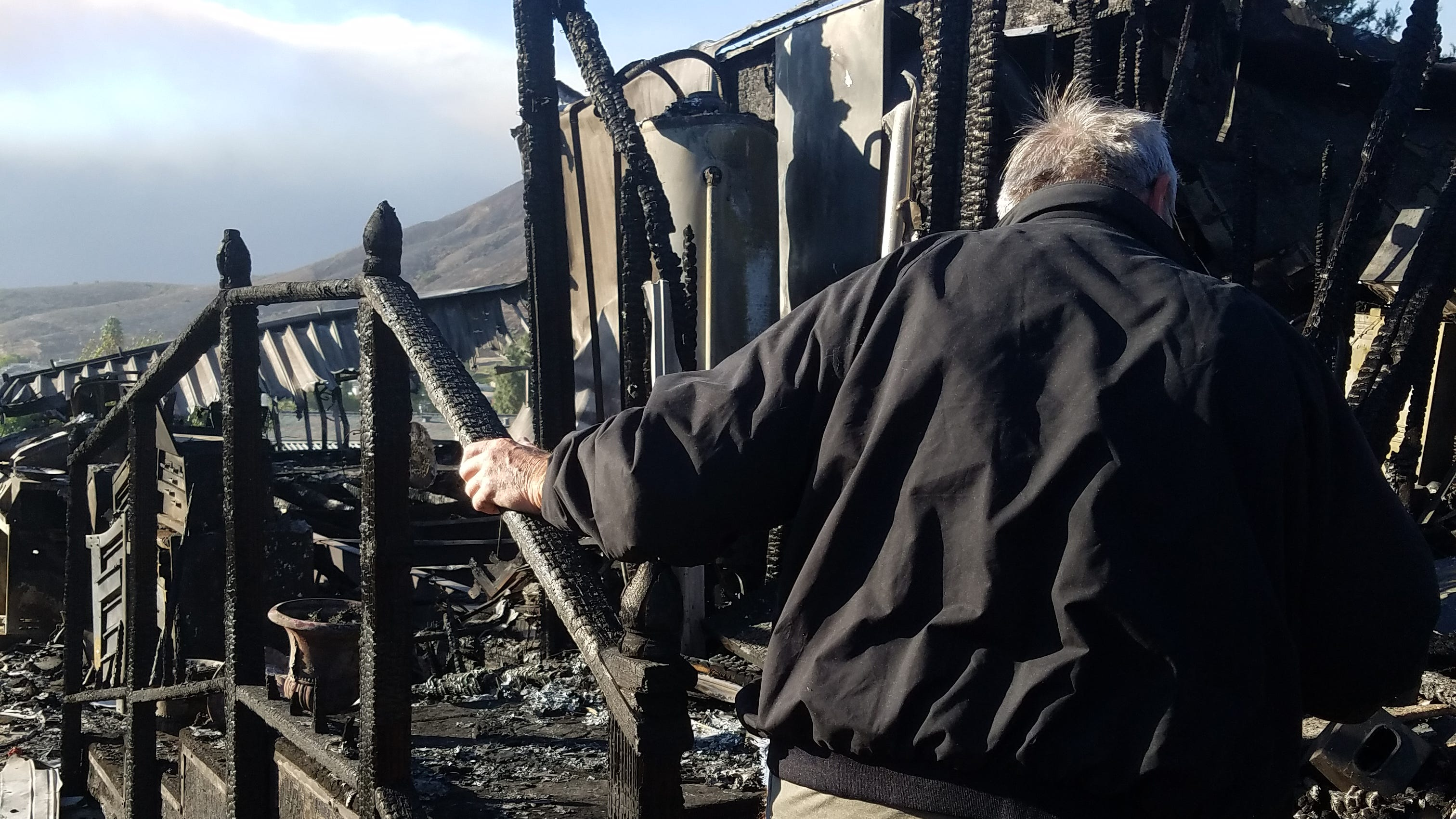 Patrick Futvoye lost his Newbury Park home in the Hill Fire a day before his and wife Dona's 50th wedding anniversary.