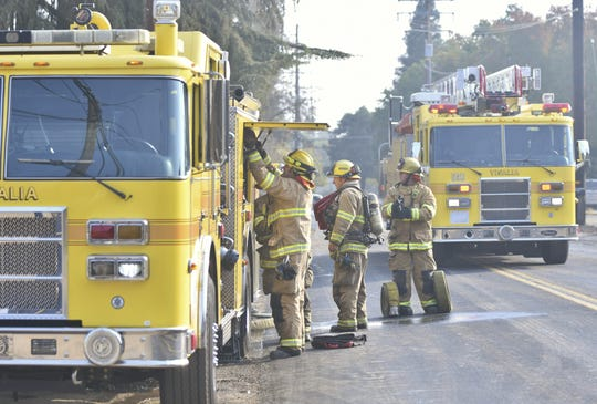 Visalia firefighters were called to two fires along Goshen Avenue Thursday morning.