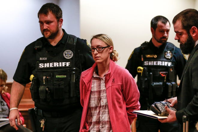 Daycare provider Merisa Sell, 28, of Wausau, gets escort to Marathon County Jail after her initial appearance Thursday, Nov. 15, 2018, at the Marathon County Courthouse in Wausau, Wis. T'xer Zhon Kha/USA TODAY NETWORK-Wisconsin