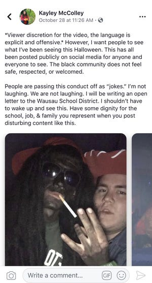 A screen grab of Kayley McColley's Facebook post following a party in Wausau, where one man dressed in blackface.