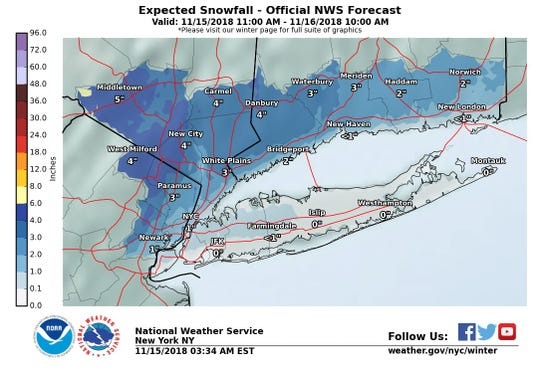 Up to 4 inches of snow could hit the Lower Hudson Valley on Thursday.