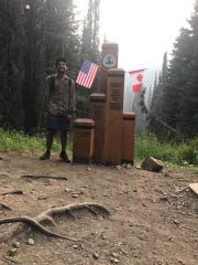Matthew Leichman, 27, of New City, at the northern terminus of the Pacific Crest National Scenic Trail during his 2,650-mile hike from May to November 2018.