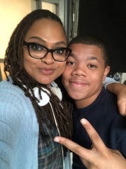 "Ava DuVernay and Mount Vernon student Judah Taylor on the set of ""Central Park Five,"" a Netflix miniseries the 14-year-old was recently cast in."