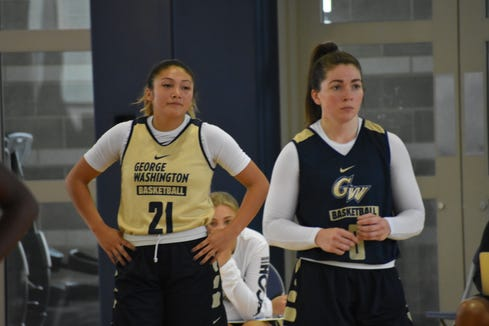 George Washington women's basketball players Mei-Lyn Bautista (left) and Anna Savino (right) during an October 2018 practice.