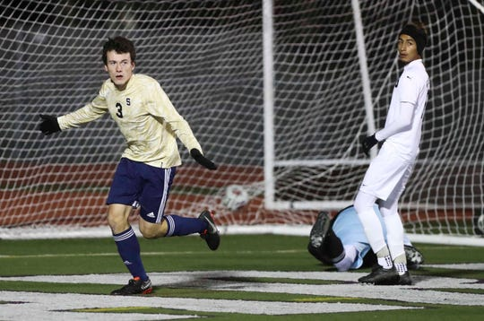 Salesianum's Thomas McGrail reacts to a goal in the second half of Salesianum's 6-0 win in a semifinal of the DIAA Division I state tournament.