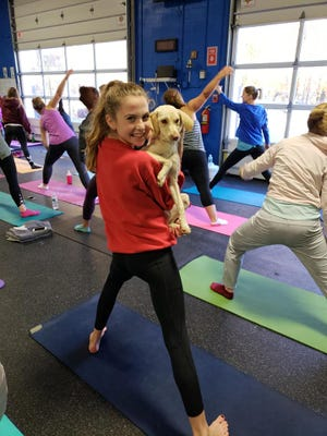 A dog finds a new friend at Doggy Noses & Yoga Poses's visit to Iris Mind+Body in Cedar Grove, New Jersey earlier this month.