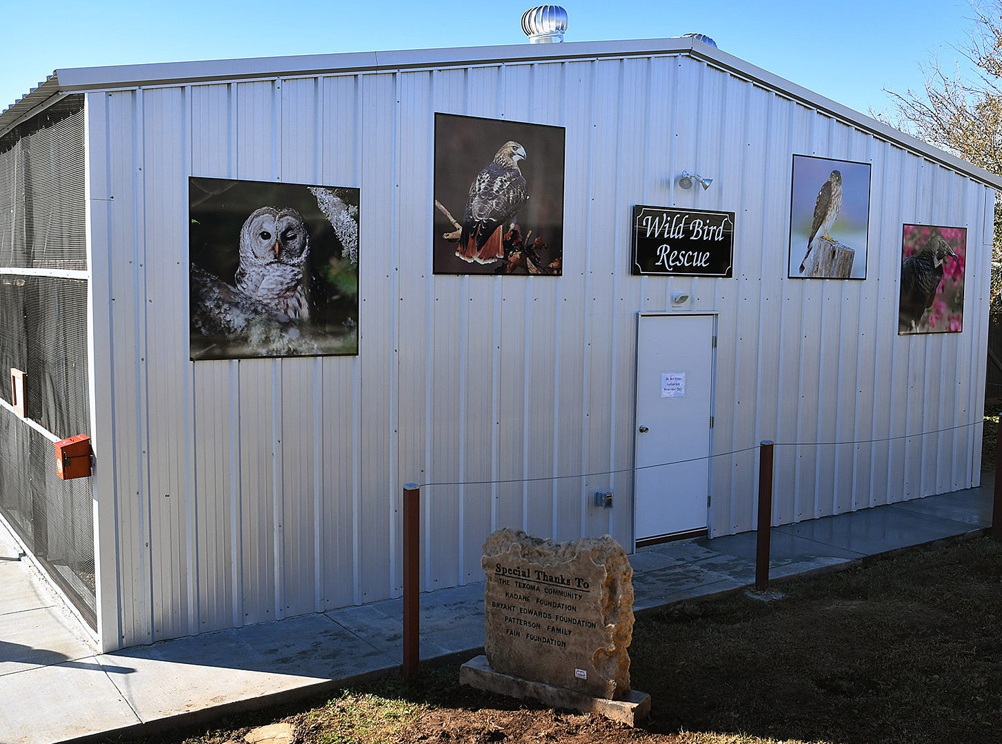 The new Exhibit and Education building opened Thursday at Wild Bird Rescue. The facility houses birds and raptors, that for various reasons, cannot be released back to the wild.