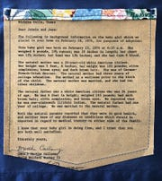 A letter regarding the birth of Julia Franklin and information about her birth parents is part of a mixed media art piece by Franklin. Her work is featured in the Alumni Exhibition celebrating the 40th anniversary of the Fain Fine Arts Center at Midwestern State University. Franklin is hoping to learn about her siblings through the exhibition of her work.