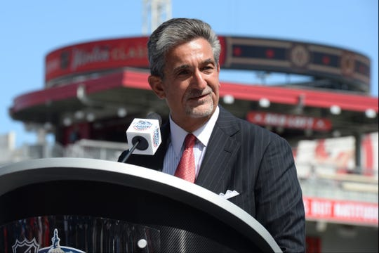 Washington Capitals owner Ted Leonsis speaks at at event where his team unveiled their NHL Winter Classic uniforms at Nationals Park.