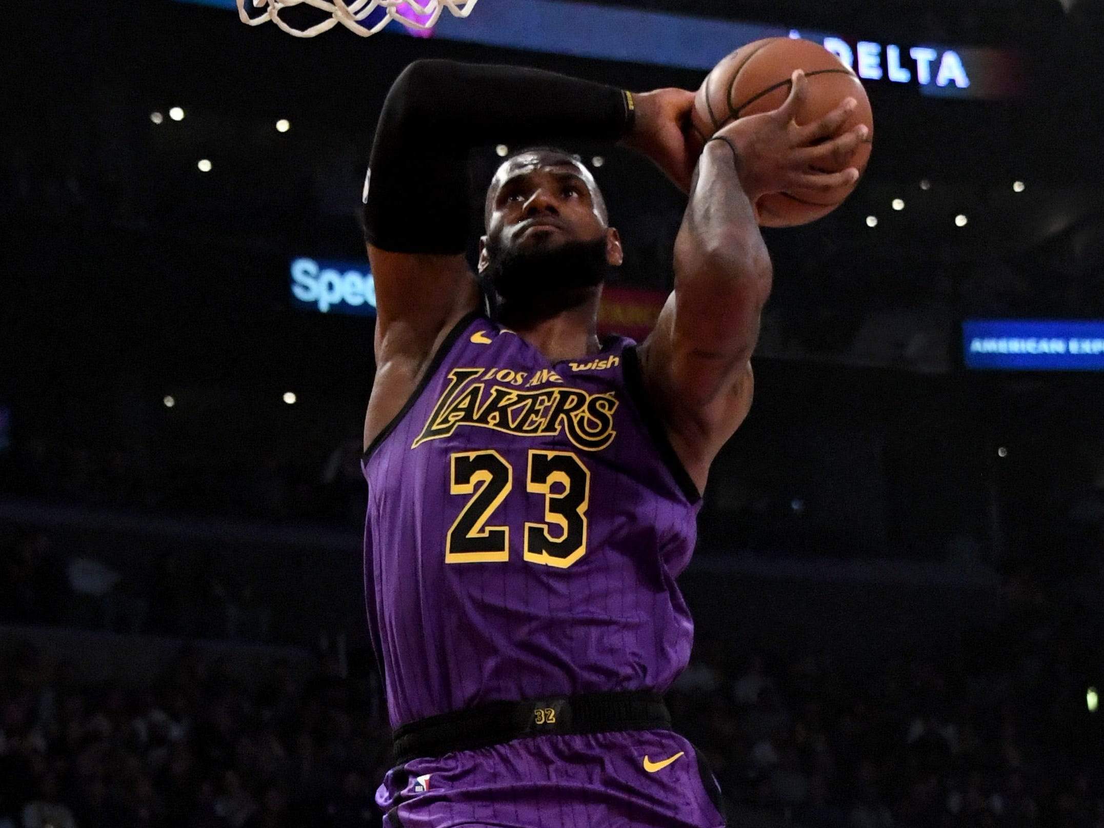Nov. 14, 2018: James soars to the bucket and throws down a two-handed slam during the second half against the Blazers at Staples Center.
