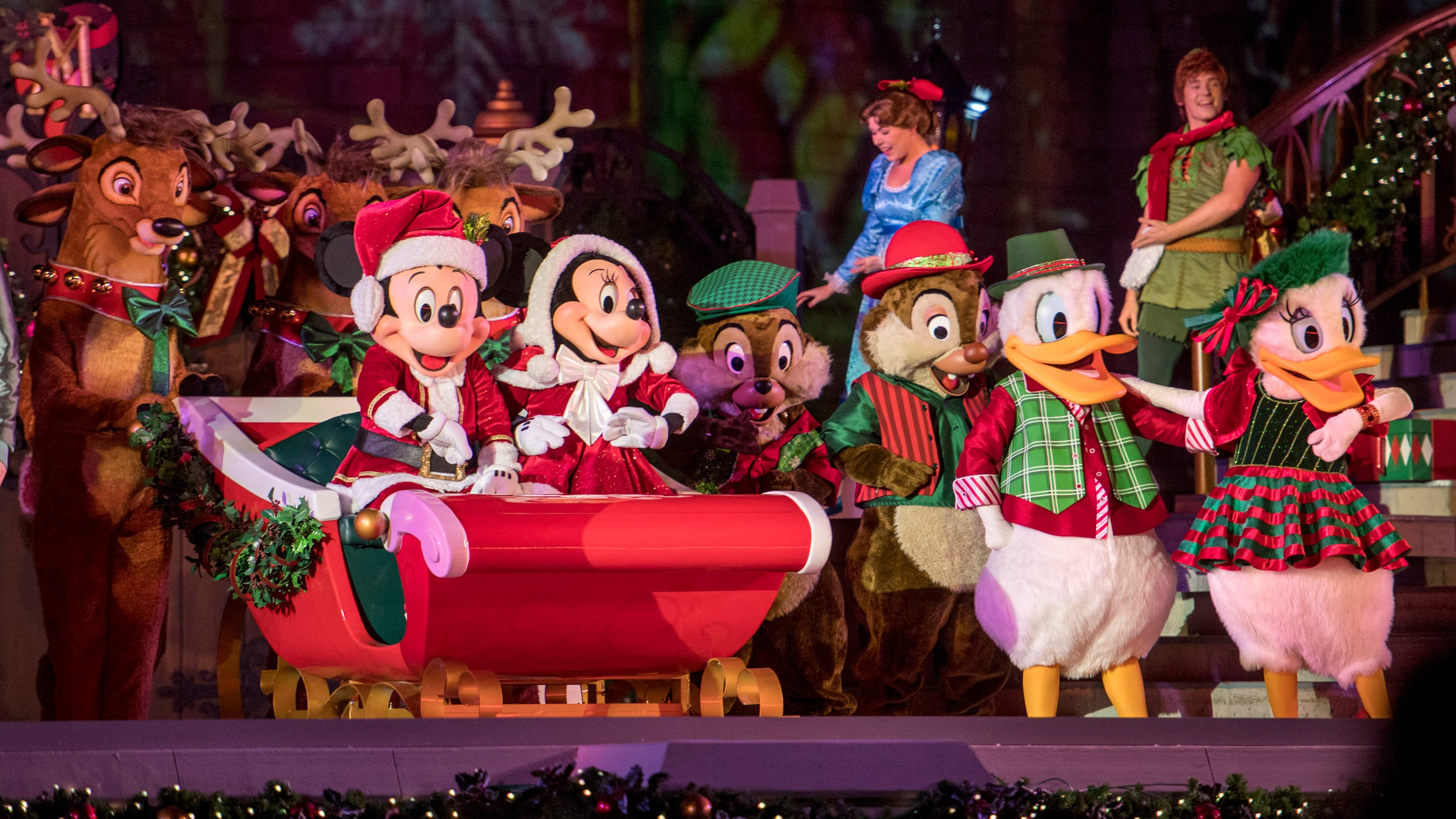 "On a stage in front of Cinderella Castle, Disney's classic characters will gather for the stage show, ""Mickey's Most Merriest Celebration."""