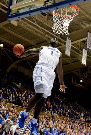 Duke Blue Devils forward Zion Williamson (1) dunks during the second half against the Eastern Michigan Eagles at Cameron Indoor Stadium. The Blue Devils won 84-46.