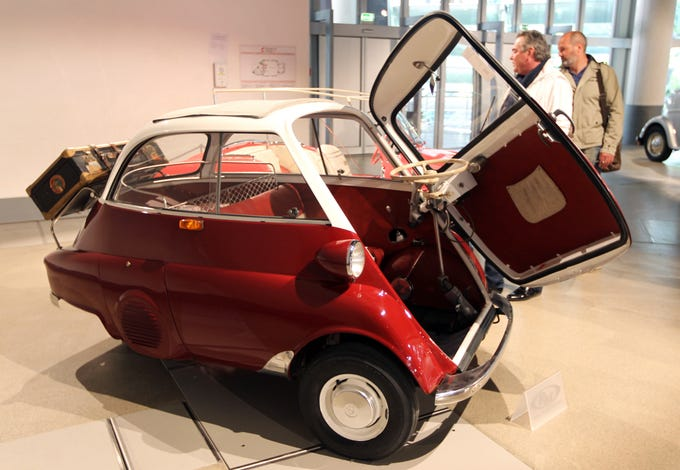 A 1956 BMW Isetta 300, at the Grimaldi Forum in Monaco, on the eve of the RM Auctions' sale, a biennial event with world-class vintage motor cars, running from May 11-12, 2012.
