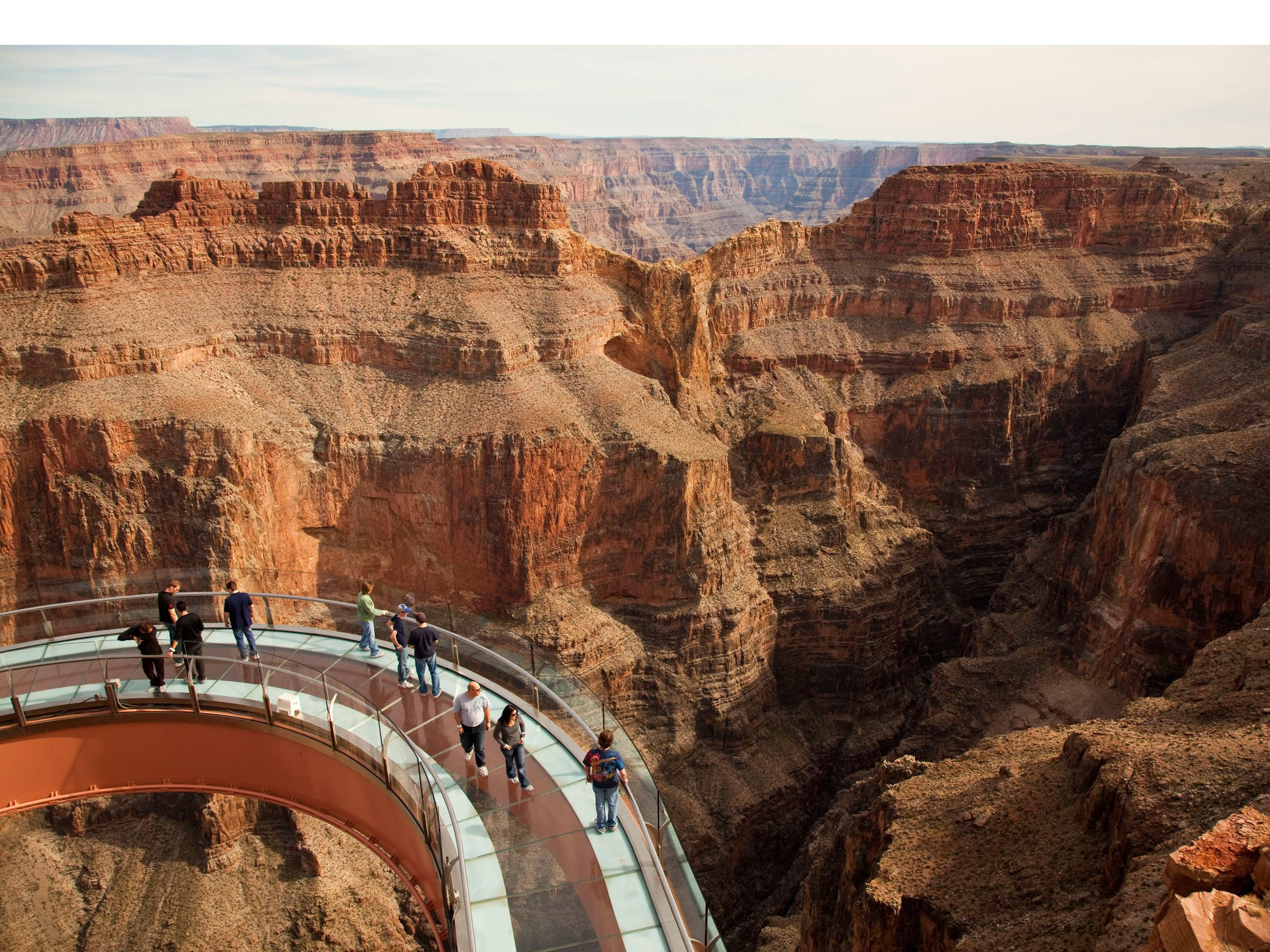 The Grand Canyon Skywalk in Arizona. To protect the glass paneling from scratches, cameras and cell phones are not allowed on the skywalk.