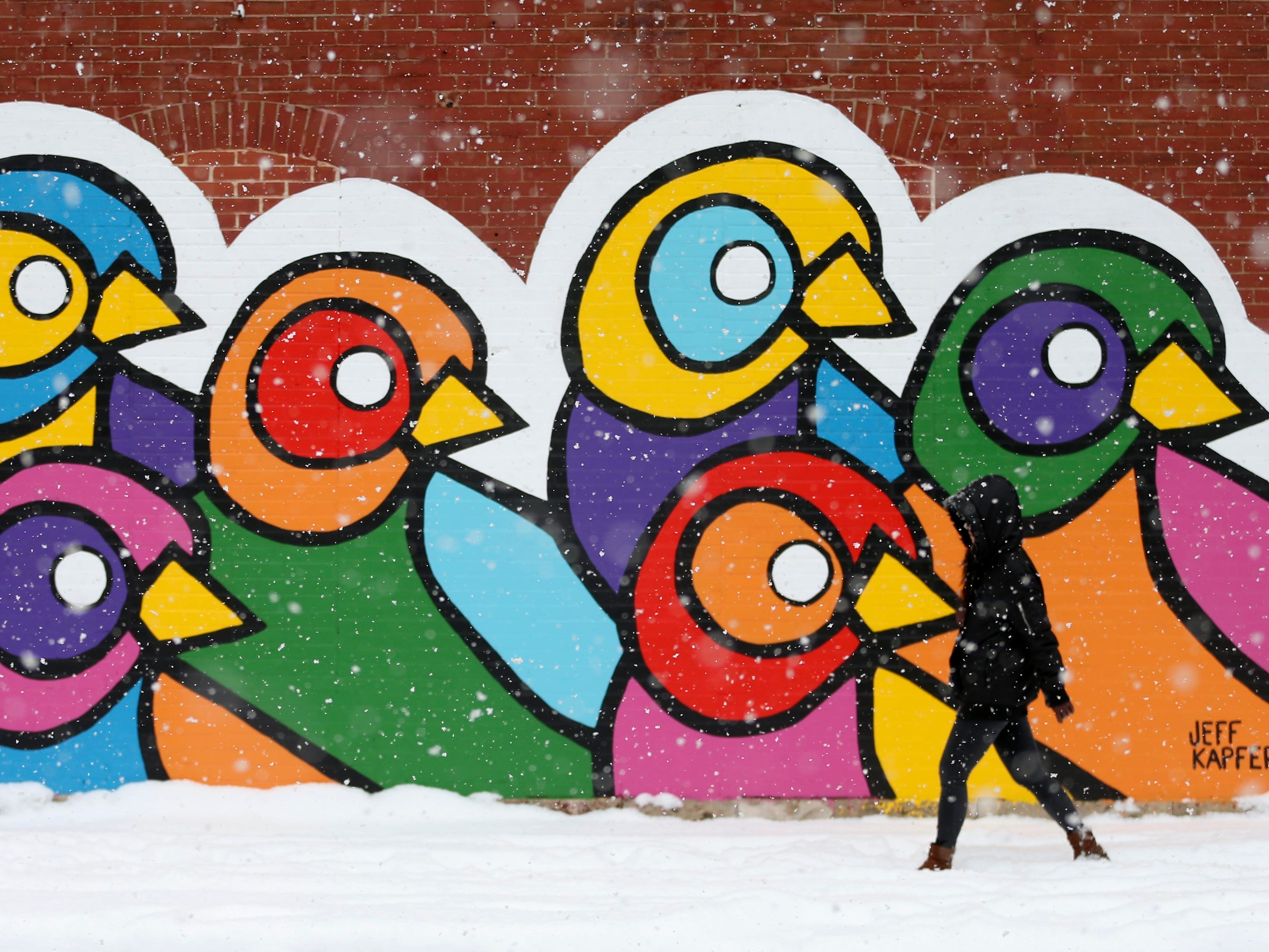 """""""The snow is just beautiful, """" said Xioqing Qin, who walks to work in the snow passing a mural painted on the exterior wall of the Atomic Cowboy bar and restaurant on Thursday, Nov. 15, 2018, in St. Louis."""