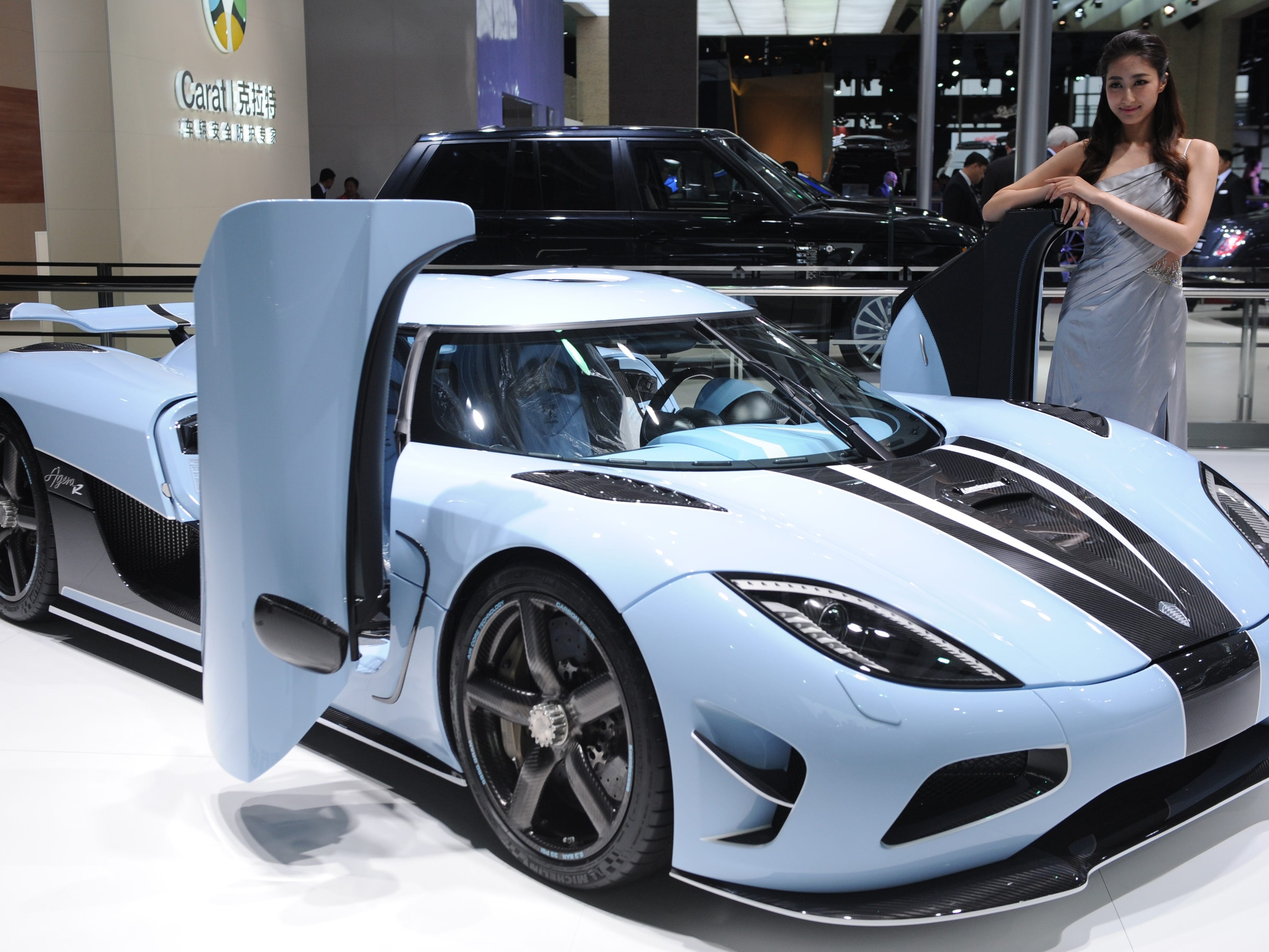 A Koenigsegg sports car is on display during media day at the Shanghai Auto Show in Shanghai, China.