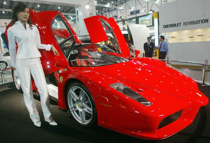 The Ferrari Enzo is on display at the 21st Thailand International Motor Expo 2004 in Bangkok on Nov. 30, 2004 in Bangkok.