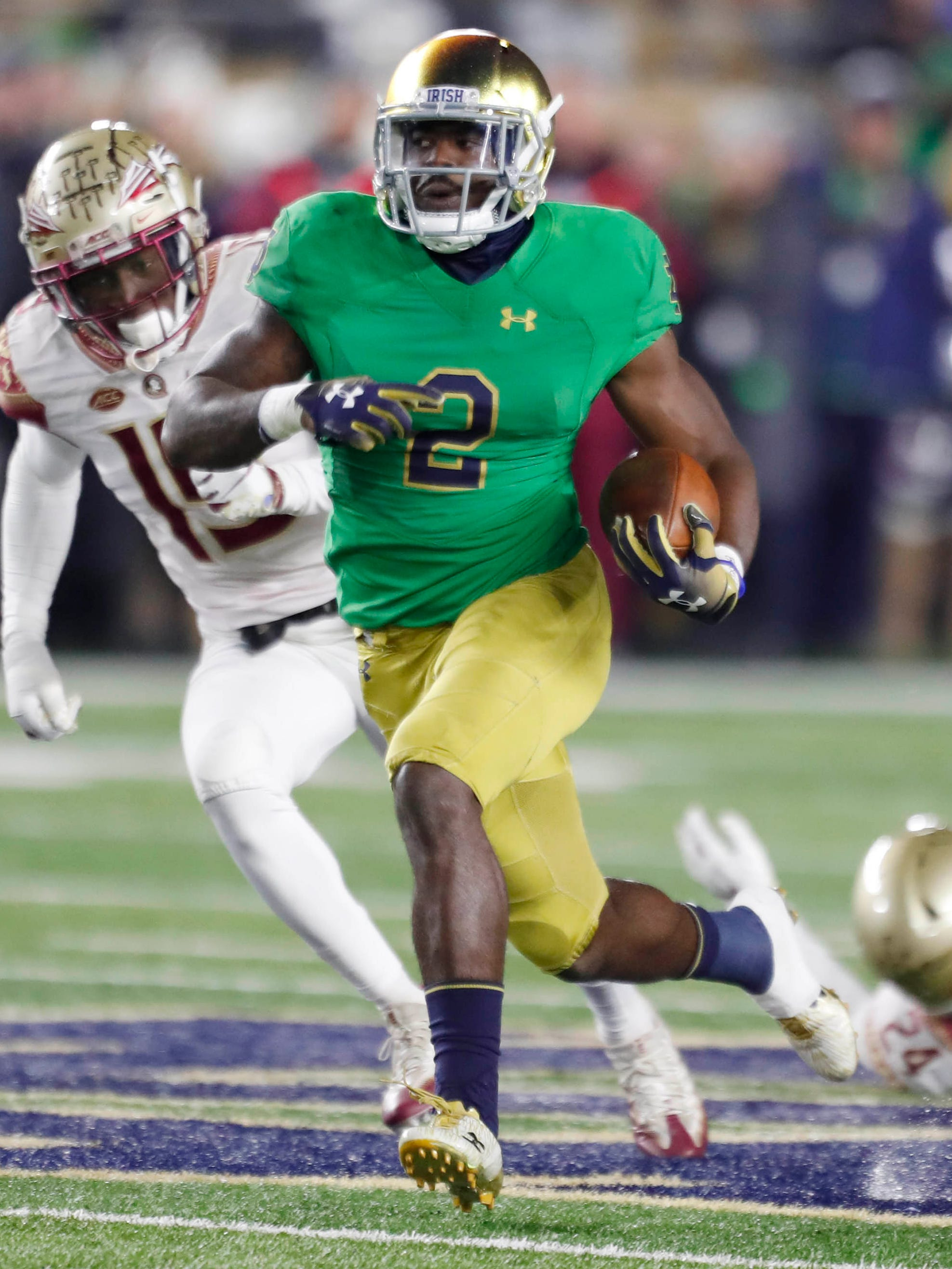 Notre Dame running back Dexter Williams breaks free for a touchdown  against Florida State.