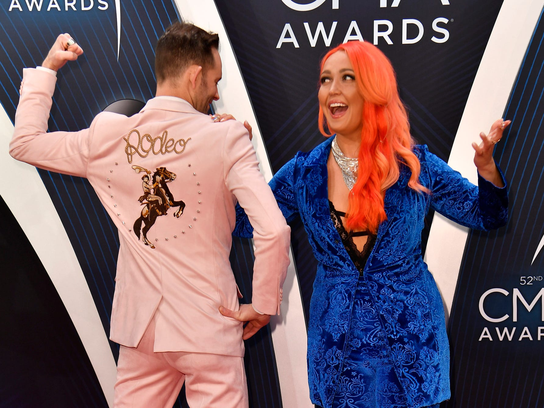 Meghan Linsey clowns around on the red carpet before the 52nd Annual CMA Awards, on Nov. 14, 2018, in Nashville.