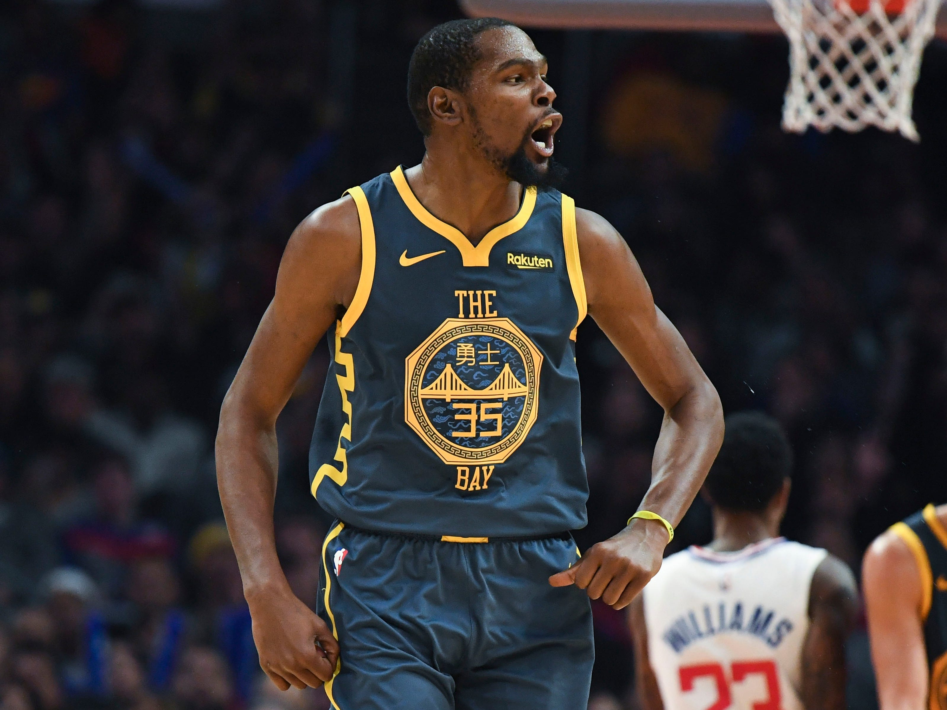 10. Kevin Durant, Warriors (Nov. 12): 33 points, 11 rebounds, 10 assists in 121-116 overtime loss to Clippers.