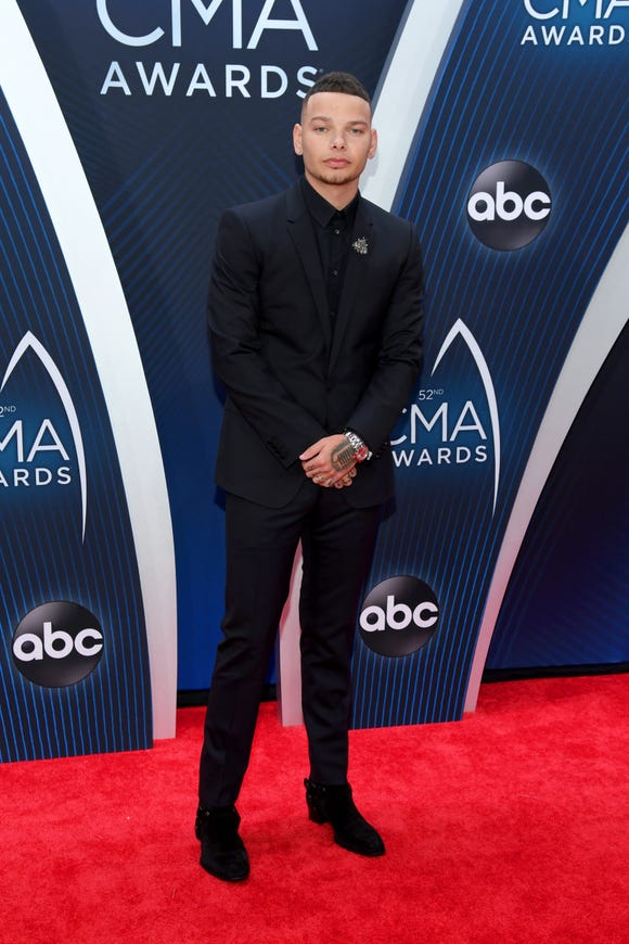 Kane Brown attends the 52nd annual CMA Awards in Nashville, Tennessee.