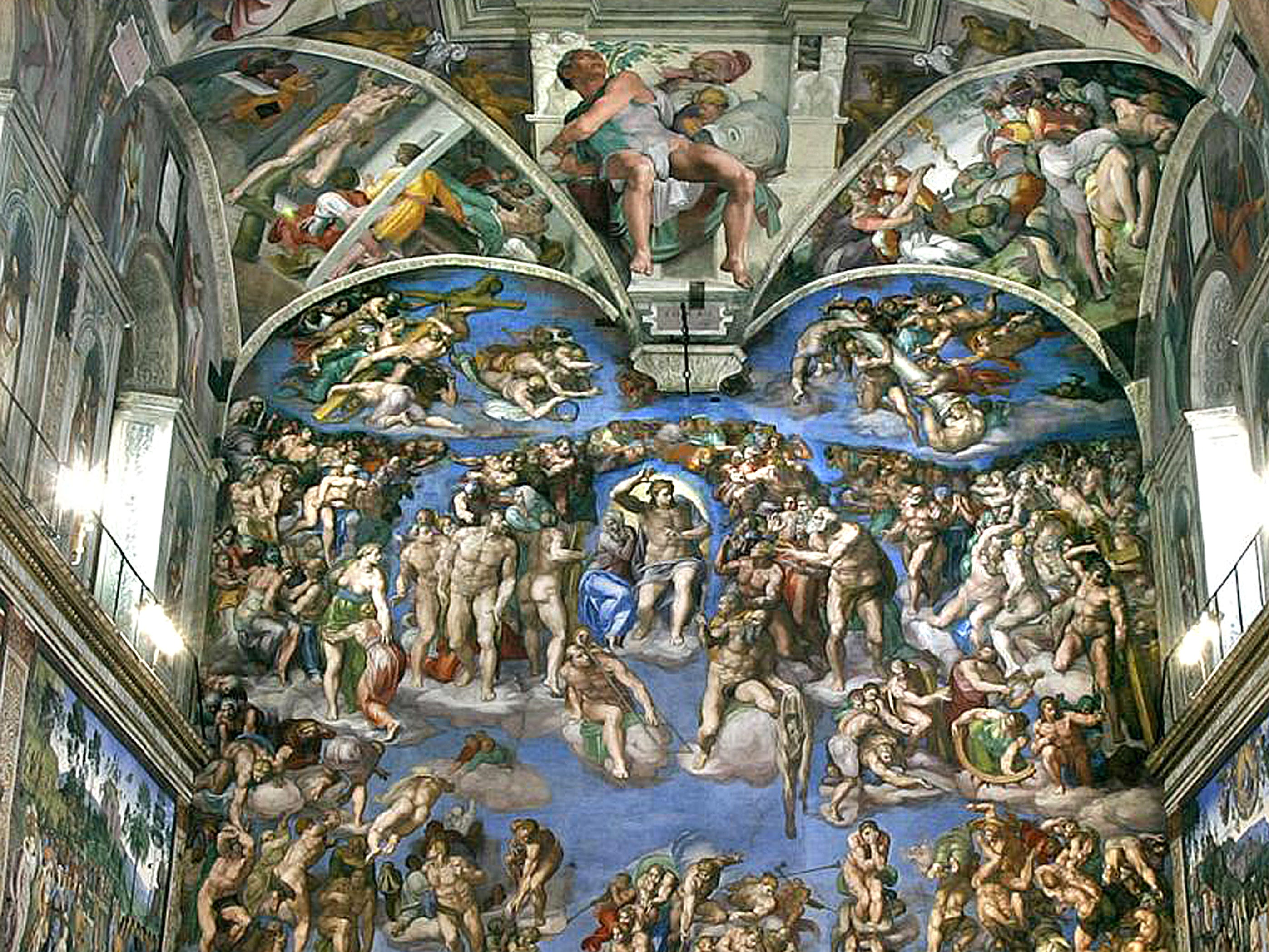 The Sistine Chapel at the Vatican in Rome, Italy. The flashes from cameras can be harmful to the artwork.